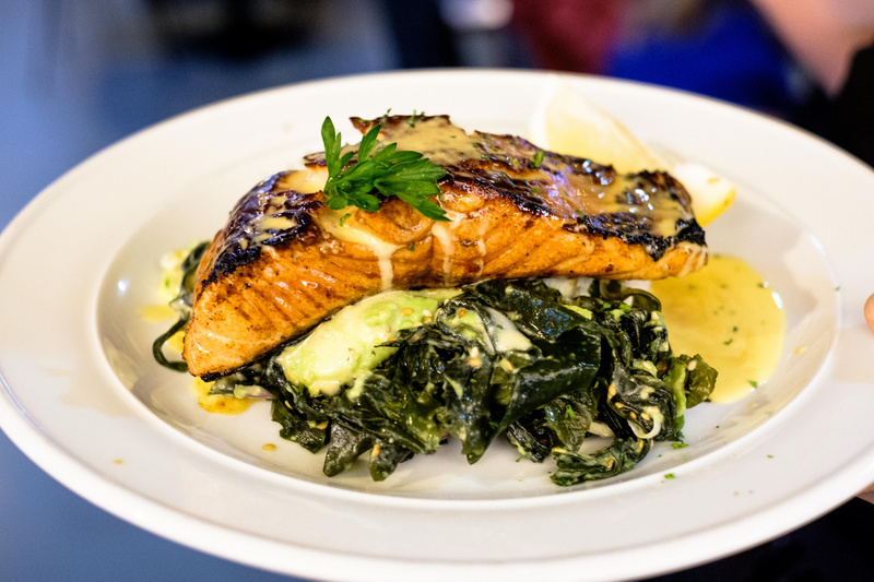 PLATO salmon with greens